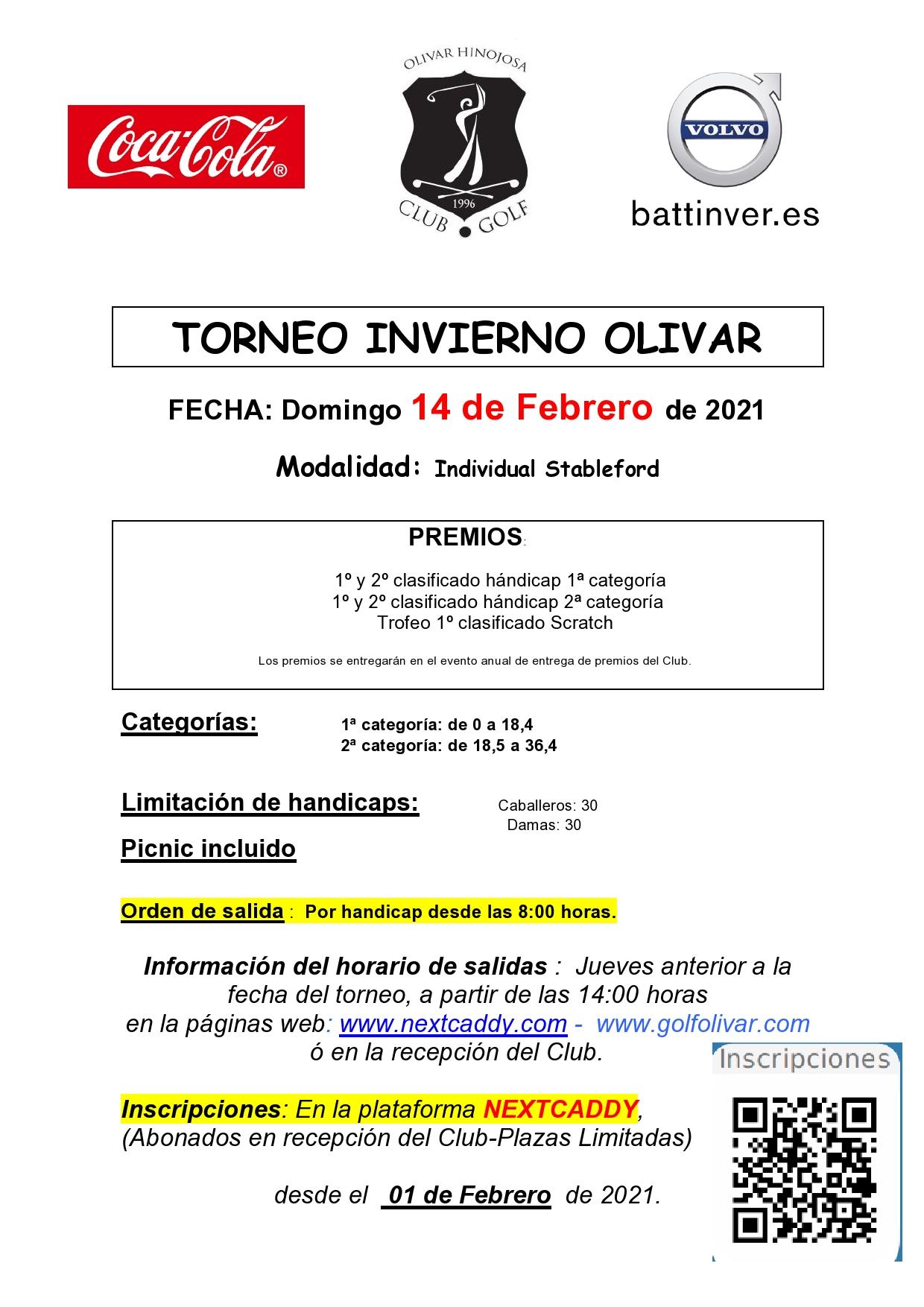 cartel torneo invierno 2021 Joaquin Molpeceres Sanchez Olivar de la Hinojosa